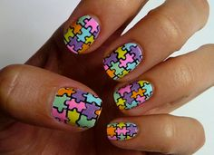 Puzzle Pieces Nail Art - 50 Mind Blowing Designs of Nail Art