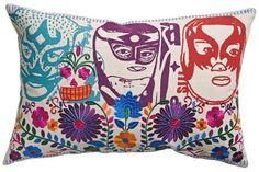 Luchador/Dia De Los Muertos Mexican Pillow.....YES....Come to Mama:-)
