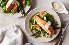 This chargrilled salmon with potato, asparagus and snowpeas recipe is brought to you by the Taste team and Paul Newman's Own.