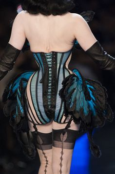 Butterly details at Jean Paul Gaultier Haute Couture modeled by Dita Von Teese