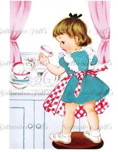 Cute Girl Washing Dishes Vintage Image Digital by SaltwaterTaffs