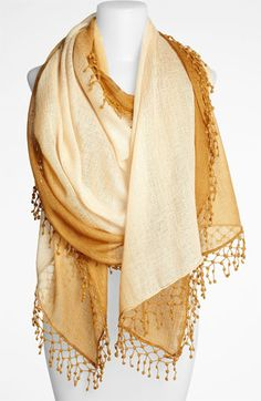 Ombre lace pompom scarf