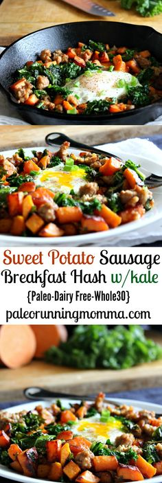 Easy and healthy Sweet Potato Sausage Breakfast Hash with Kale - Paleo, dairy free, and sugar detox friendly! Simple and delicious, great for any meal healthy paleo breakfast Clean Eating Recipes, Easy Healthy Recipes, Paleo Recipes, Healthy Eating, Sausage Recipes, Healthy Sweets, Healthy Sugar, Sausage Soup, Healthy Detox