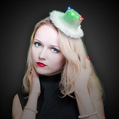 Silver Top Hat LED and Light-Up Fascinator