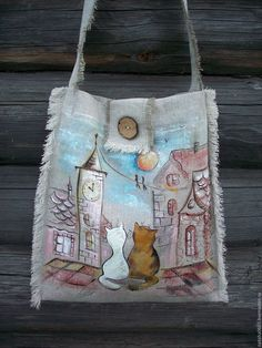 Linen handbag with painting. Cats on the roof - buy or order in an online shop on Livemaster - Shuya Handmade Gifts For Boyfriend, Boyfriend Gifts, Painted Bags, Wallet Tutorial, Handbag Patterns, Beautiful Handbags, Linen Bag, Denim Bag, Quilted Bag