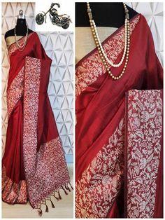 Stylish Look Multi Color Raw Silk Weaving Saree With Rich Pallu -Style Array Red Saree, Saree Dress, Designer Sarees Collection, Saree Collection, Festival Wear, Festival Fashion, Work Sarees, Silk Sarees Online, Sari Fabric