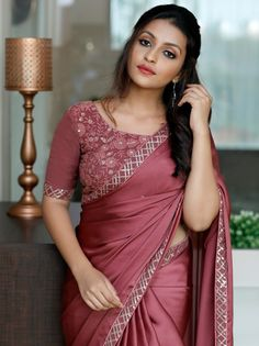Check out the most elegant designer sarees for party and wedding ocassions by the brand Laksyah. Silk Saree Blouse Designs, Bridal Blouse Designs, Kurta Designs, Stylish Sarees, Stylish Dresses, Fashion Dresses, Fancy Sarees Party Wear, Party Wear Sarees Online, Chiffon Saree Party Wear