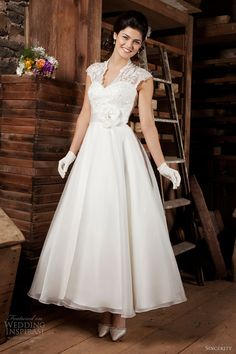 sincerity bridal 2013 cap sleeve v neck tea length wedding dress