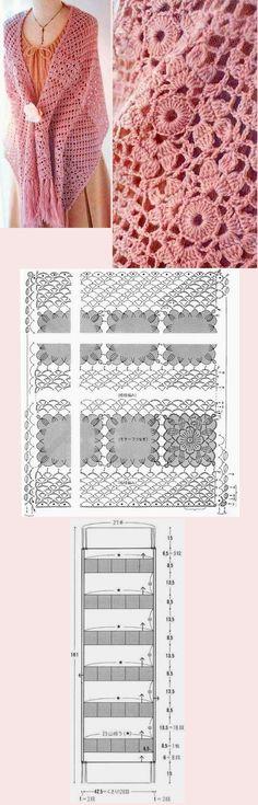 Кружевной палантин крючком Knitted Shawls, Crochet Scarves, Crochet Shawl, Diy Crochet, Crochet Stitches, Crochet Patterns, Lace Purse, Hooded Scarf, Crochet Diagram