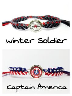 Captain America inspired Friendship Bracelets- Steve Rogers, captain america, Civil War, Avengers, Winter Soldier