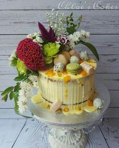 Mango and passionfruit drip cake
