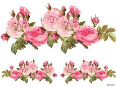 NeW! BeST XXL PinK CaBbaGe RoSeS SWaGs SHaBbY DeCALs *FuRNiTuRe SiZe* | Designs by Iris