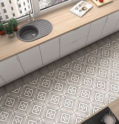 Art Nouveau Inspire Grey reinvents the concept of hydraulic pavement with the advantage of a porcelain floor. This decoration can be combined with other Art Nouveau bases to generate different designs. Kitchen Sink Cover, Kitchen Faucet Repair, Brass Kitchen Faucet, Kitchen Soffit, Kitchen Tiles, Kitchen Flooring, Kitchen Grey, Art Nouveau, Floor Design