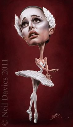 Caricatura de Natalie Portman en Cisne Negro.