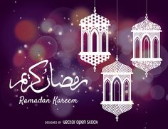 Design about the Ramadan month featuring elegant illustrated lanterns and the text Ramadan Kareem. Purple background with bokeh and lights. Perfect for