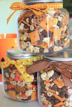 Halloween Snack Mix:  http://www.munchkinmunchies.com/2010/10/halloween-snack-mix.html