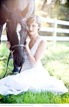 Sitting down shot: Beautiful equestrian shoot- white dress Pictures With Horses, Horse Photos, Senior Pictures, Horse Portrait, Portrait Poses, Portraits, Picture Poses, Photo Poses, Picture Ideas