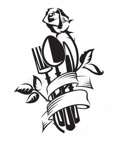 Cubiertos con rosa Outdoor Restaurant Design, Logo Restaurant, Kitchen Logo, Kitchen Art, Culinary Tattoos, Cake Logo Design, Paper Quilling Patterns, Laser Cutter Projects, Pumpkin Stencil