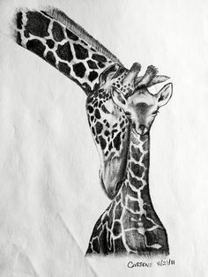 Tattoo design I did for a friend missing his mother (she loves Giraffes) Baby Giraffe Tattoo, Giraffe Tattoos, Animal Tattoos, Cartoon Giraffe, Cute Giraffe, Cute Tattoos, Body Art Tattoos, Giraffe Coloring Pages, Giraffe Silhouette