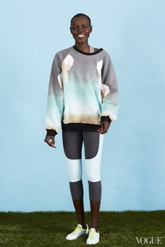 January 13 - How to start the week? A little parkour in an insanely cool sweatshirt?Grace Bol in a Gun Germs Steal sweatshirt, American Apparel bra, Victoria