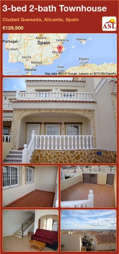 Townhouse for Sale in Ciudad Quesada, Alicante, Spain with 3 bedrooms, 2 bathrooms - A Spanish Life Valencia, Portugal, Alicante Spain, Ground Floor, Beautiful Beaches, Townhouse, Terrace, Stairs, Mansions