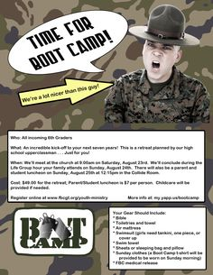 6th Grade Boot Camp (for incoming 6th graders) August 23rd!