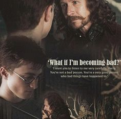 Sirius Black (Gary Oldman) offers Harry Potter (Daniel Radcliffe) words of kindness and wisdom. Saga Harry Potter, Always Harry Potter, Mundo Harry Potter, Theme Harry Potter, Harry James Potter, Harry Potter Jokes, Harry Potter Pictures, Harry Potter Aesthetic, Harry Potter Universal
