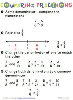 Math Coach's Corner: Comparing An important part of being a flexible mathematician is knowing that one size does not fit all. In other words, mathematicians use different strategies depending on the situation. A good example is comparing fractions. Comparing Fractions, Teaching Fractions, Teaching Math, Equivalent Fractions, Teaching Ideas, Math Strategies, Math Resources, Math Activities, Geometry Activities