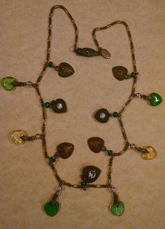 Necklace Glass Works Studios GWS LTD Brass Rhinestone Heart Green Yellow Charm #GLASSWORKSGWSSTUDIOSLTD #Chain