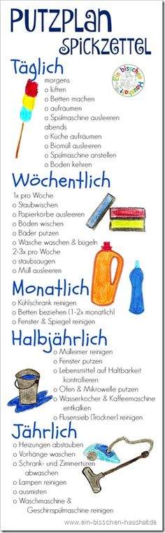 Praktischer Printout: Spickzettel zum Putzen – mit allen wichtigen Aufgaben um d… Practical Printout: Cheat sheets to clean – with all the important tasks to get the apartment quickly and easily clean. House Cleaning Tips, Cleaning Hacks, Flylady, Home Organisation, Home Hacks, Cheat Sheets, Filofax, Own Home, Better Life