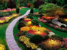 Sunken Garden, at Butchart Gardens, Brentwood Bay, British Columbia, Canada Amazing Gardens, Beautiful Gardens, Famous Gardens, Beautiful Homes, Sunken Garden, Beautiful Flowers Garden, Amazing Flowers, Nice Flower, Parcs