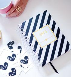 Design Love Planner   Day Planner, Agenda, Gold Foil, Journal, Paper Goods, Black and White