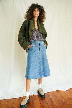 Boho Boutique, Teddy Coat, Ugly Sweater, Vintage Inspired, High Waisted Skirt, Free People, Stylish, My Style, Casual