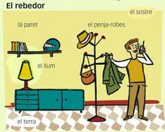 "#Fitxa #Imprimible del #vocabulari de la #casa ""El rebedor"" en #català #EduacióPrimaria #flashcards"