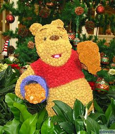 Winnie the Pooh topiary in the Crystal Palace Restaurant near Main Street, USA at the Magic Kingdom, Walt Disney World, Florida, photo by D. Wills