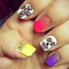My Day of the Dead nails with sugar skulls and flower crosses. Dia De Los Muertos Nails.