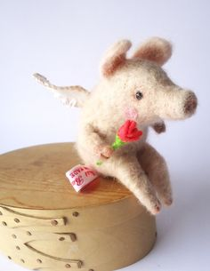 Needle Felted Animal  Cute Felted Piggy Putto by MissBumbles, $65.00
