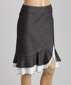 Loving this White & Navy Denim-Inspired Skirt - Women on #zulily! #zulilyfinds