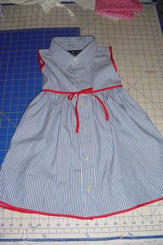 Sewing For Kids Dress made from an upcycled men's dresshirt~~Who Has More Fun Than Us? Sewing Kids Clothes, Sewing For Kids, Baby Sewing, Sewing Men, Fabric Sewing, Men Clothes, Dress Sewing, Barbie Clothes, Little Girl Dresses