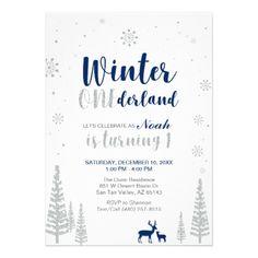 Winter Onederland 1st Birthday Invitation - Boy - giftidea gift present idea one first bday birthday 1stbirthday party 1st