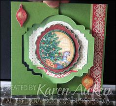 handmade Christmas card from Altered Scrapbooking: Tree Ornament Flip-It Card ...luv the layered label ... Sizzix framelit die cut ...