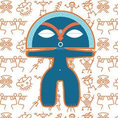 Taino Goddess mixed with taino symbols