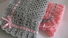 Crocheted Baby Blanket / Afghan Gray and Pink, Satin Ribbon Christening, Baptism, Baby Granny Square, Baby Shower Gift