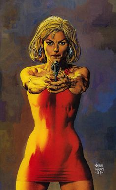 Painting by Glenn Fabry from the cover of Preacher published by DC Comics Vertigo, August Comics Online, Dc Comics, Tulip O Hare, Steve Dillon, Vertigo Comics, Graphic Novel Art, American Comics, Pulp Art, Comic Books Art