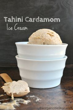 No Churn Tahini Cardamom Ice Cream - The Organic Dietitian