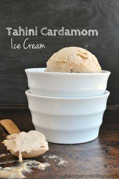 No Churn Tahini Cardamom Ice Cream #vegan