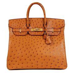 Authentic Hermès Saffron Ostrich 32 Cm Hac Birkin Bag