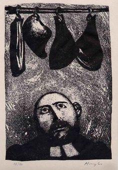 Hunziker,Max : SCHINKENWOHLSTAND - Handsignierte Handätzung des SCHWEIZER Surrealisten