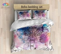 Elephant bedding, Bohemian duvet cover set, Elephant watercolor bedding set…