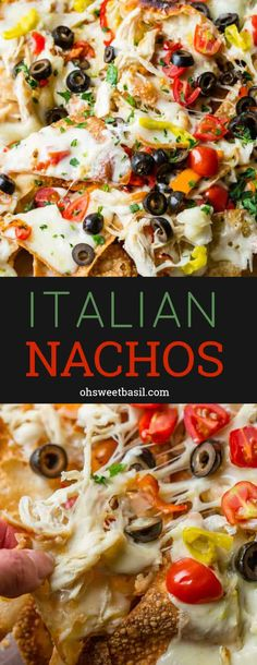 You Have Meals Poisoning More Normally Than You're Thinking That Crunchy Fried Wontons Loaded With Alfredo Sauce, Shredded Chicken, Peppers, Cheese And Olives Make Up The Most Delicious Italian Nachos # Italian Appetizers, Appetizer Recipes, Dinner Recipes, Cold Appetizers, Appetizer Ideas, Italian Nachos, Cheese Stuffed Peppers, Alfredo Sauce, Alfredo Chicken